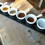ground coffee, curry, black pepper, cayenne pepper, cinnamon, and sea salt