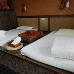 Our bedroom - beds on platform