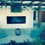 Our outside sitting area and fireplace