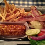 BBQ Bacon Burger with spicy fries & corn on the cob!