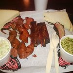 Hot links, ribs, coleslaw, and tabouli for dinner.  Oh yes, and white bread from the store too.