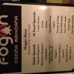 Happy Hr menu