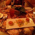 crab cakes, daikon salad