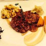 Plat : Piccata de filet mignon de veau, lardons de chorizo ibérique...