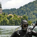 Diving in the beautiful Lake Bled