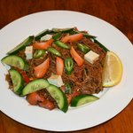 Meegorang (Wax Tossed Hakkien Noodles With Eags, Tafu, Bax Chdy, Blanchan Served With Cucumber)