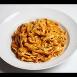 Fettuccine with shrimp and coconut curry cream