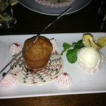 Beautifully presented sticky toffee pudding