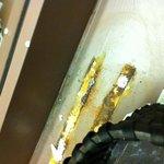 Rusty, dirty vanity in women's washroom