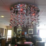 lobby with funky chandelier