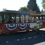 The regular trolley dressed up for Jacksonville's 150th Anniversary Jubilee Parade