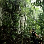 Hiking throught the jungle to Crystal Cave