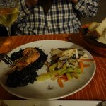 Best black risotto we had (left) with superb grilled Adriatic fish (right)