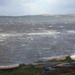 A stormy loch-view (through window)