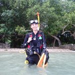 My wife, the certified open water diver!