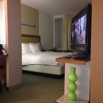 TV swivels to face sofa and bed