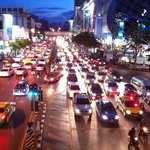 Siam Square in Bangkok with MBK Mall on rhs looking down towards Pathumwan Princess Hotel, haven