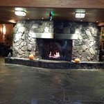 Fireplace in front lobby