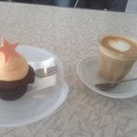 choc and orange cupcake with coffee