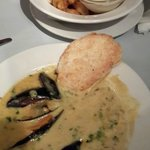 Mussels in creamy curry sauce (front) and Fried Calamari with Tartare Sauce
