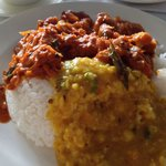Fish Masala and Dahl Fry with Rice. Very nice!