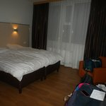 our room - modern, clean with plenty of floor space - only small disappointment 2 single beds&du