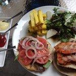 The alpaca/beef burger as per menu, bacon cooked more