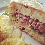 Beef brisket sandwich.