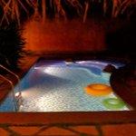 inside pool at night in pool hut