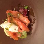 Home smoked salmon horseradish cream cheese and basil oil