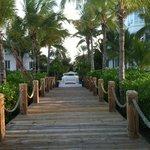 Walkway from beach to hotel