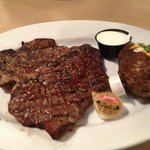 Tbone with loaded baked potato