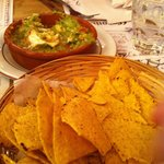 Starters: Tortilla chips and guacamole