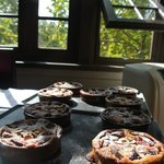 cooling dessert (fig tarts) before we sit down to the lunch we prepared from our market tour