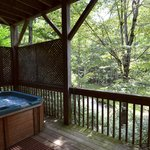 One of the 25 Hot tubs.  Every Cabin has a private Hot Tub