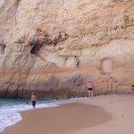 Ledge carved into cliff, Praia do Carvalho