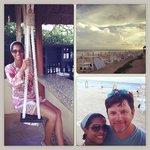 Swing bar, beach and beach cabanas.