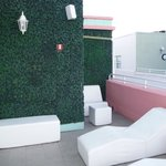 Side view of rooftop spa