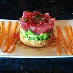 The Tunacado: Fresh Ahi Tuna & avocado layered with crispy won tons