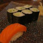 Cucumber roll and salmon nigiri.