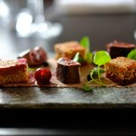 Seared venison liver with cherry and juniper compote, watercress and pain perdu