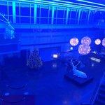 Christmas decs up in the posh lobby area