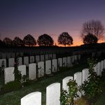 Hooge Crater Cemetery at sunrise
