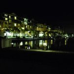 night view of the resort from marina area