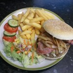 Burger, Chips and Salad