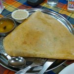 So so masala dosa, tasteless coconut chutney and watery bland sambar.  Meh.
