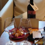 complimentary wine and biscotti