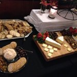 A few of the different biscuits, cheeses, snacks.