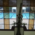 View of the pool from the lobby