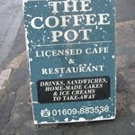 Information board outside the cafe